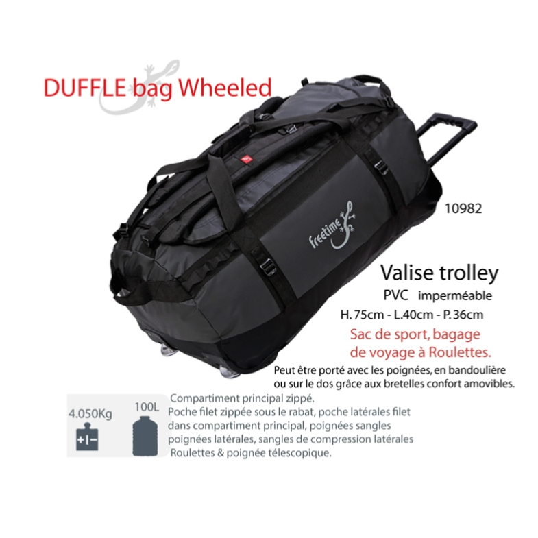 valise trolley duffel bag 100 l sac de voyage roulettes. Black Bedroom Furniture Sets. Home Design Ideas