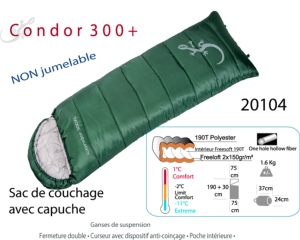 Sac de couchage 3 saisons - CONDOR 300+ couverture confort 1 place