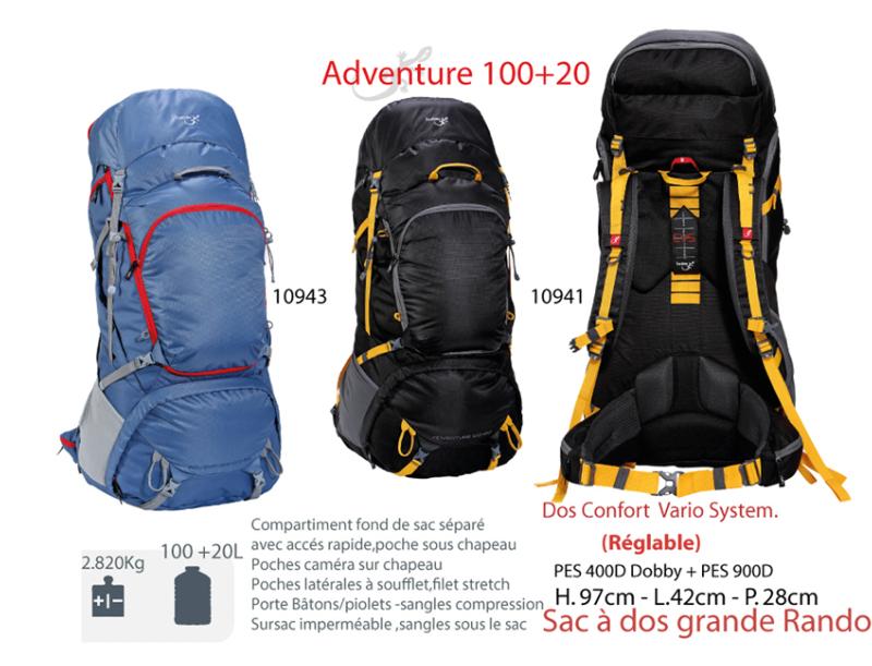 nouveau produit 76b88 91043 Sac à dos de 100 L à 120 L - Grand sac à dos plus de 100 L - ADVENTURE  100+20 L -